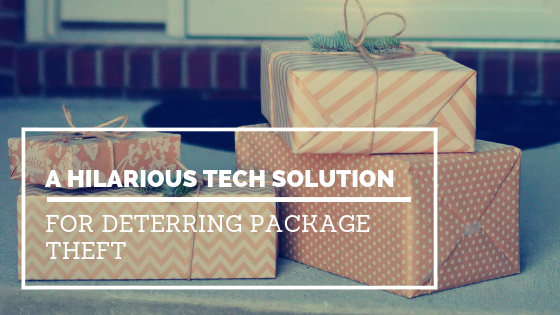 Got package thieves you want to scare away? Here's one solution that will have you laughing and scheming how to make your own!