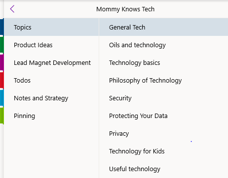 A few of my OneNote pages within my blogging notebook.