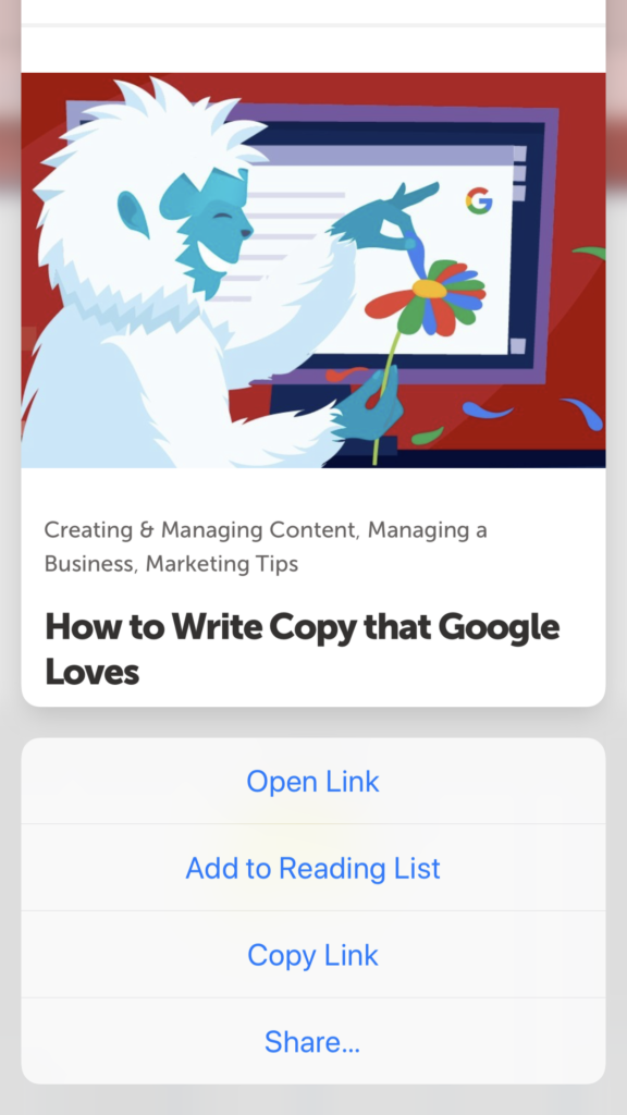 open link, add to reading list, copy link, or share from link preview mode