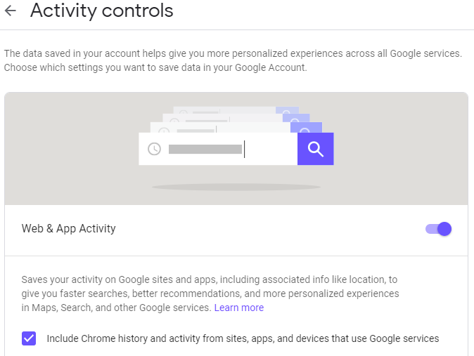 "Chrome activity controls affect what data Google uses in offering you ""more personalized experiences"""