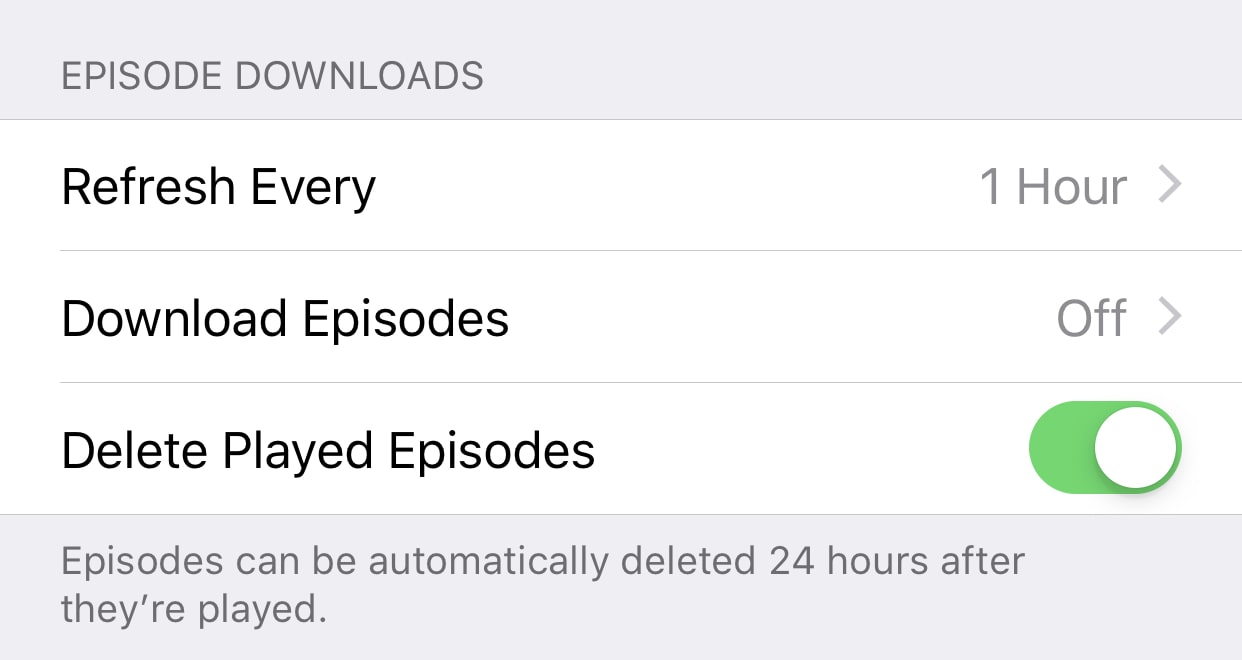 Delete played episodes and don't automatically download podcasts