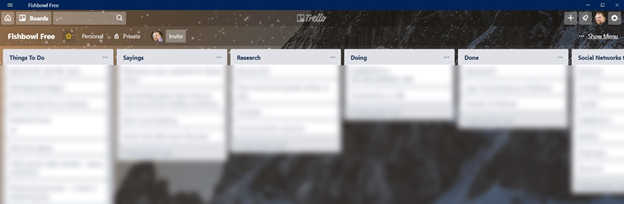 What a Trello board looks like. Everything is sorted into lists containing cards.