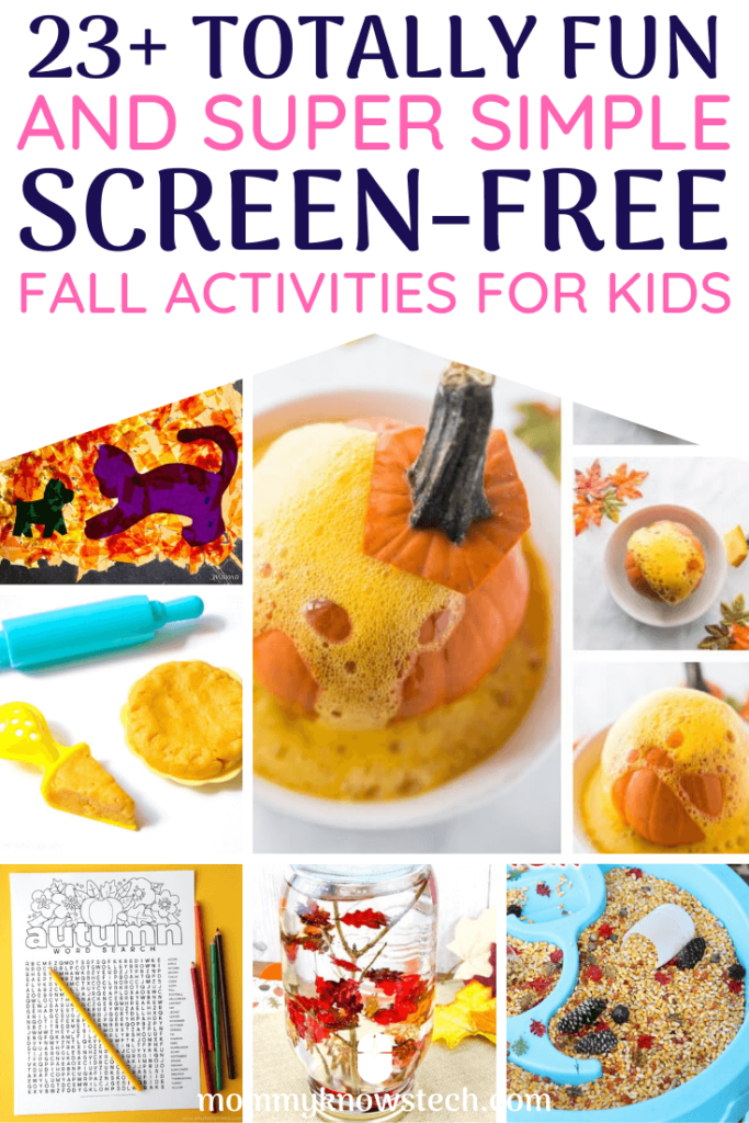 Need screen-free activities? This fun list of simple activities for kids will keep your big and little kids occupied indoors and outdoors without screens all fall long!